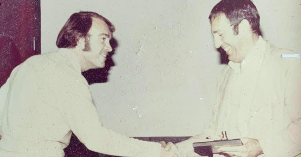 Lou Brown (right) transferring the TASH Board of Directors Chairmanship to Wayne Sailor (left).