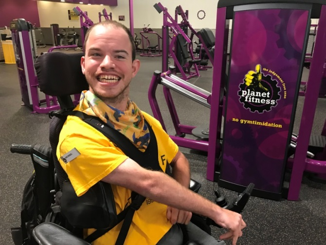 Michael working at Planet Fitness
