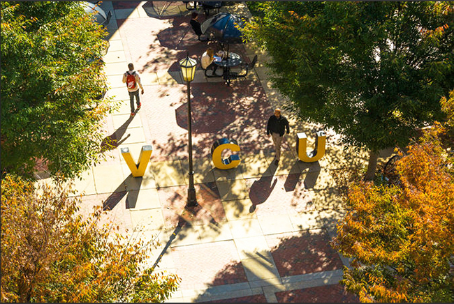 VCU letters outside dining hall from above