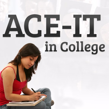 Logo with 'ACE-IT in College' and a woman writing